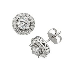 18k White Gold 2 ctT.W. IGL Certified Colorless Diamond Halo Stud Earrings