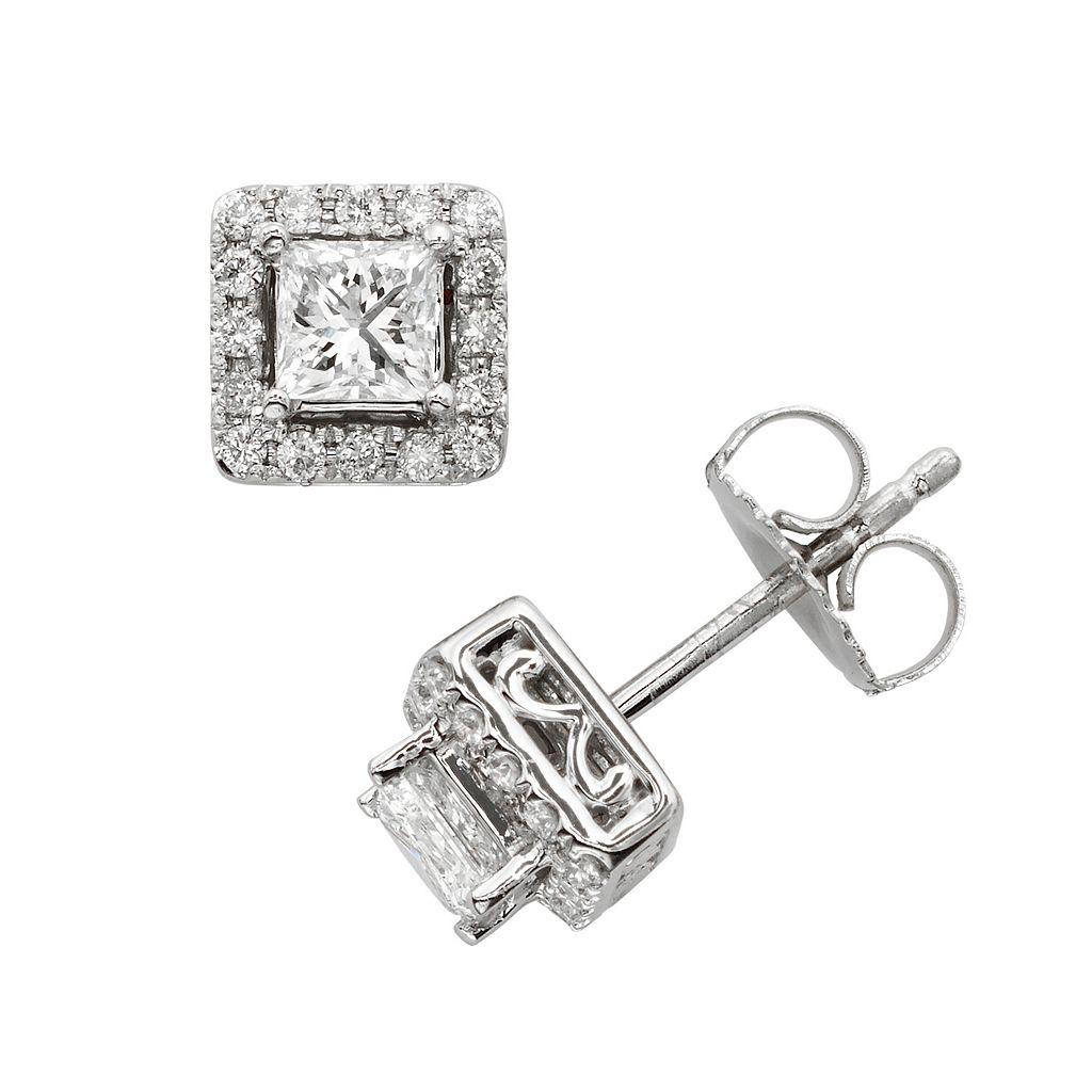 18k White Gold 1-ct. T.W. IGL Certified Colorless Diamond Halo Stud Earrings
