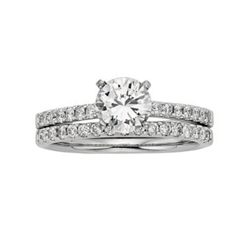 IGL Certified Colorless Diamond Engagement Ring Set in 18k White Gold (1 1/2 ct. T.W.)