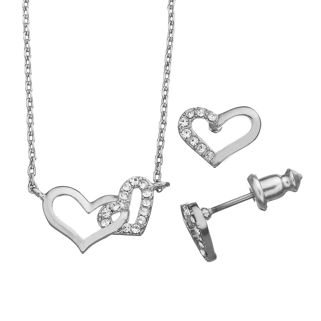 City By City Heart Necklace & Stud Earring Set