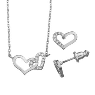 City By City Heart Necklace and Stud Earring Set