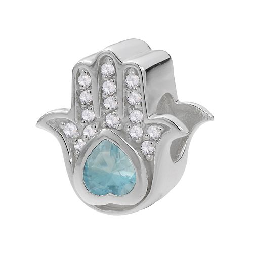 Individuality Beads Sterling Silver Cubic Zirconia Hamsa Bead