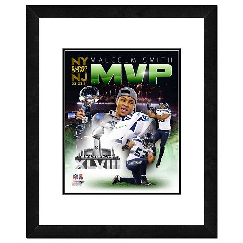 "Seattle Seahawks Malcom Smith Super Bowl XLVIII MVP Composite Framed 14"" x 11"" Player Photo"