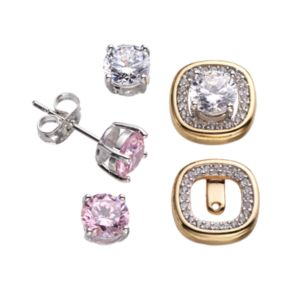 18k Gold Over Silver Plate and Silver-Plated Cubic Zirconia Interchangeable Square Halo Jacket and Stud Earring Set