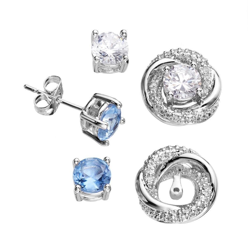 Silver-Plated Cubic Zirconia Interchangeable Swirl Jacket & Stud Earring Set