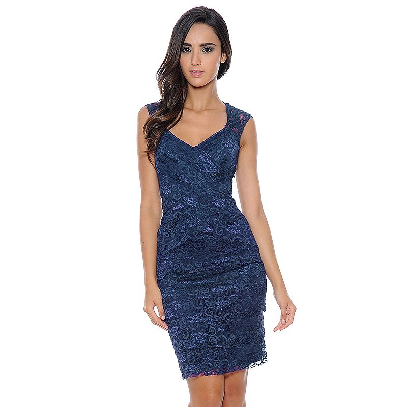 1 by 8 Sequin Lace Tiered Sheath Dress - Women's