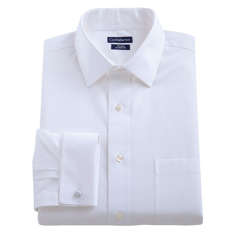 Croft barrow slim fit french cuff no iron spread collar for Mens white french cuff shirt