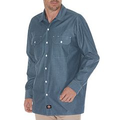 Men's Dickies Chambray Casual Button-Down Shirt