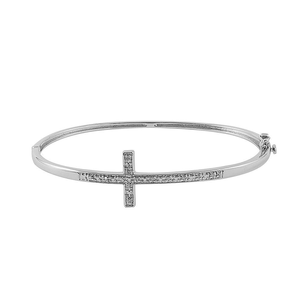 1/10 Carat T.W. Diamond Sterling Silver Sideways Cross Bangle Bracelet