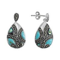 Le Vieux Marcasite Silver-Plated Teardrop Earrings