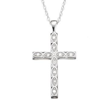 1/10 Carat T.W. Diamond Sterling Silver Cross Pendant Necklace