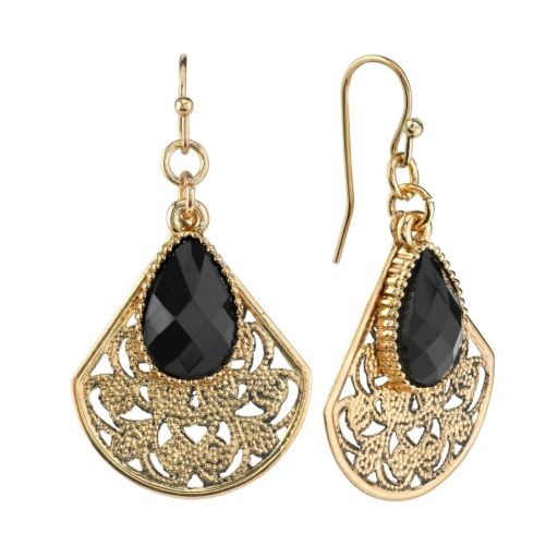 1928 Gold Tone Filigree Beaded Drop Earrings