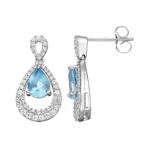 Blue Topaz & Lab-Created White Sapphire Sterling Silver Teardrop Earrings