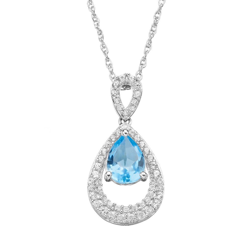 Blue Topaz & Lab-Created White Sapphire Sterling Silver Teardrop Pendant Necklace