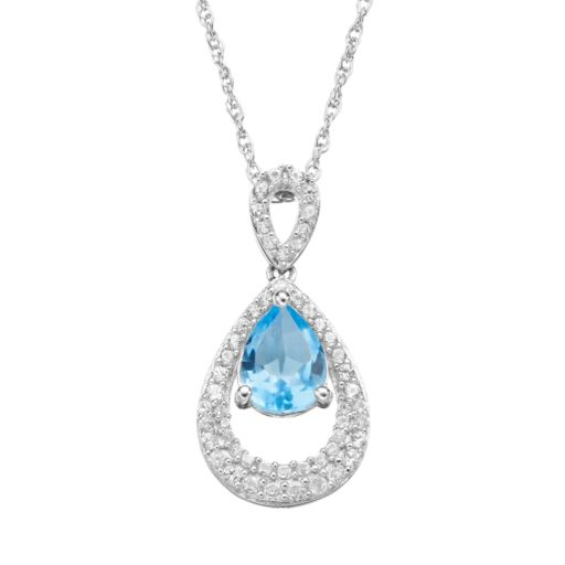 Blue Topaz and Lab-Created White Sapphire Sterling Silver Teardrop Pendant Necklace