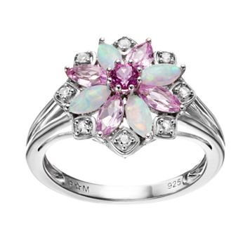 Gemstone Sterling Silver Flower Ring