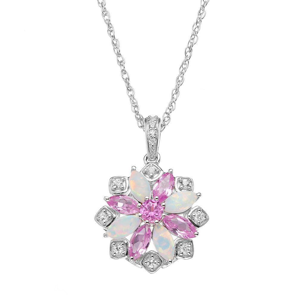 Gemstone Sterling Silver Flower Pendant Necklace