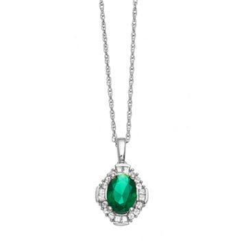 Sterling Silver Simulated Emerald & Lab-Created White Sapphire Halo Pendant Necklace