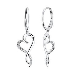 Two Hearts Forever One 1/4 Carat T.W. Diamond Sterling Silver Heart Drop Earrings