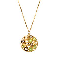 18k Gold Over Silver Smoky Quartz, Peridot & Citrine Circle Pendant