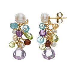 18k Gold Over Silver Gemstone & Cultured Pearl Cluster Drop Earrings