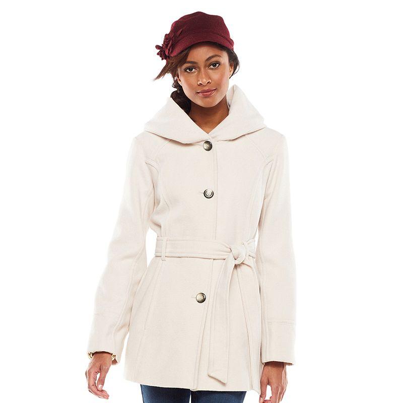 Croft & Barrow Hooded Belted Shawl Coat - Women's