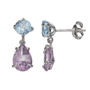 Sterling Silver Blue Topaz and Amethyst Drop Earrings