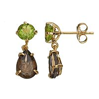 18k Gold Over Silver Peridot & Smoky Quartz Drop Earrings