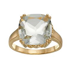 18k Gold Over Silver Green Quartz Ring