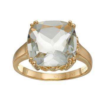 18k Gold Over Silver Green Quartz Ring