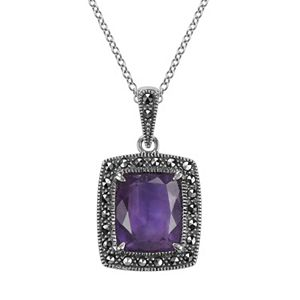 Lavish by TJM Sterling Silver Amethyst Halo Pendant - Made with Swarovski Marcasite