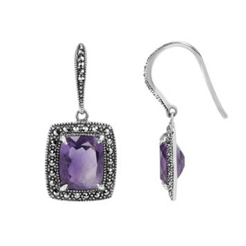 Lavish by TJM Sterling Silver Amethyst Halo Drop Earrings - Made with Swarovski Marcasite