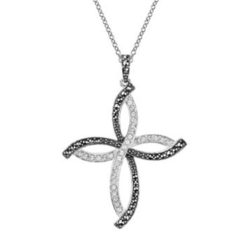 Lavish by TJM Sterling Silver Crystal Cross Pendant - Made with Swarovski Marcasite