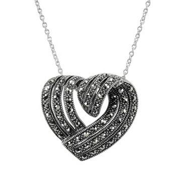 Lavish by TJM Sterling Silver Heart Pendant - Made with Swarovski Marcasite
