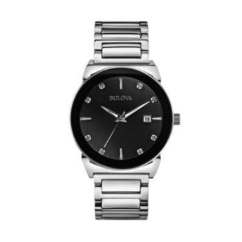 Bulova Men's Diamond Stainless Steel Watch - 96D121