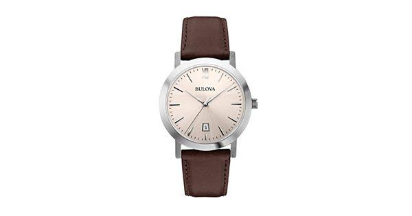 Bulova men 39 s leather watch 96b217 for Watches kohls