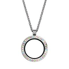 Blue La Rue Stainless Steel Pastel Crystal 1-in. Round Locket