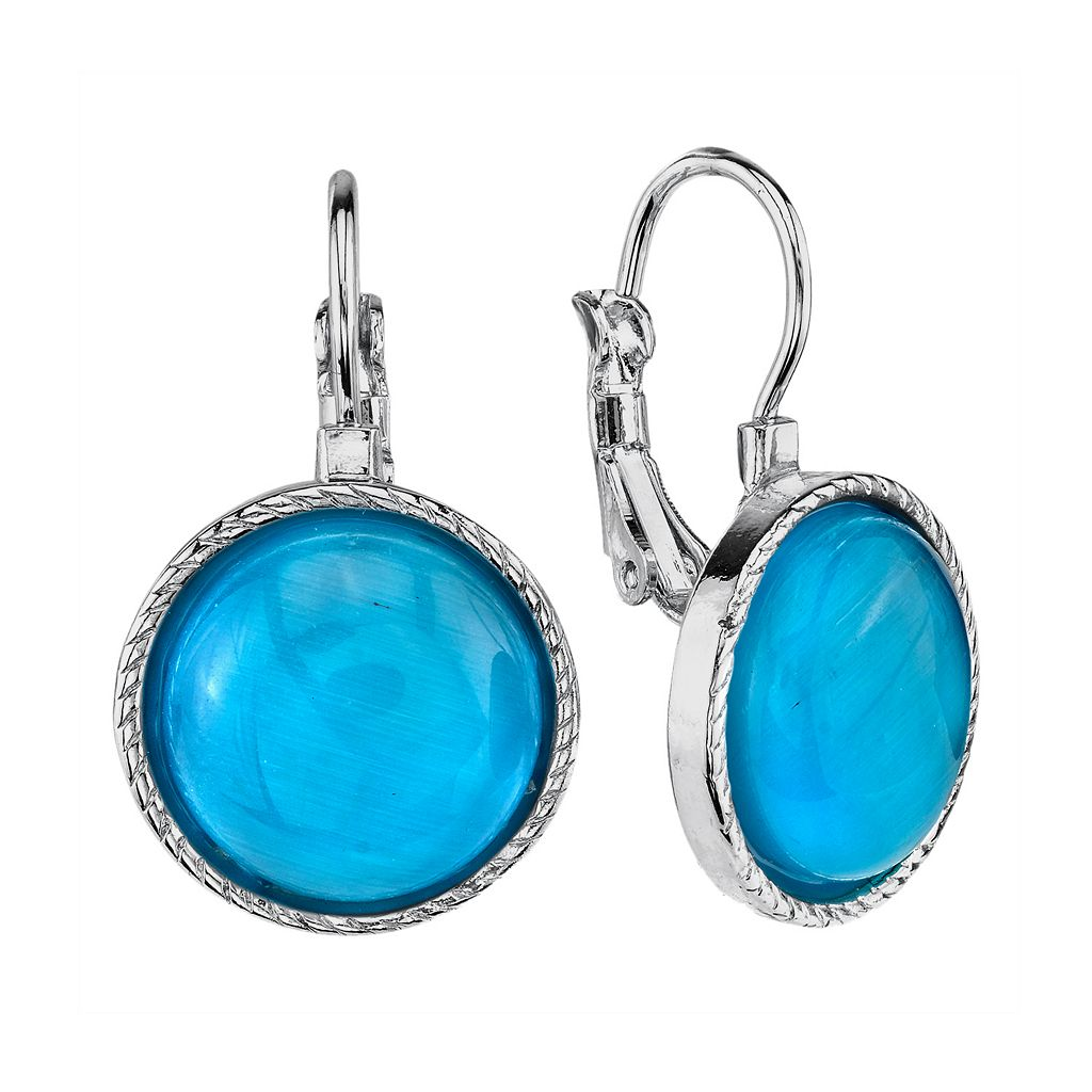 1928 Silver Tone Cabochon Drop Earrings