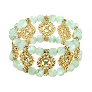 1928 Simulated Crystal and Bead Filigree Multistrand Stretch Bracelet