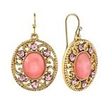 1928 Simulated Crystal & Cabochon Filigree Oval Drop Earrings