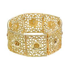 1928 Simulated Crystal Openwork Flower Stretch Bracelet