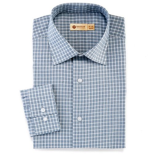 37f6c716a26 Haggar® 1926 Originals Fitted Tattersall-Checked Easy-Care Spread-Collar Dress  Shirt - Men