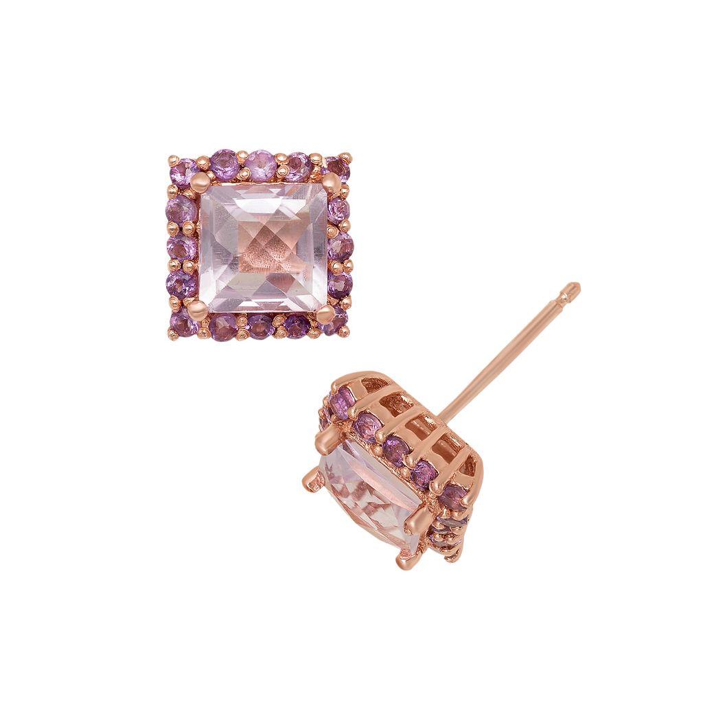 14k Rose Gold Over Silver Rose de France & Amethyst Square Halo Stud Earrings