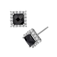 Sterling Silver Onyx & Lab-Created White Sapphire Square Halo Stud Earrings