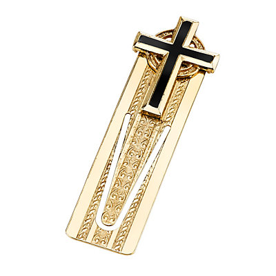 Symbols of Faith Gold Tone Cross Bookmark