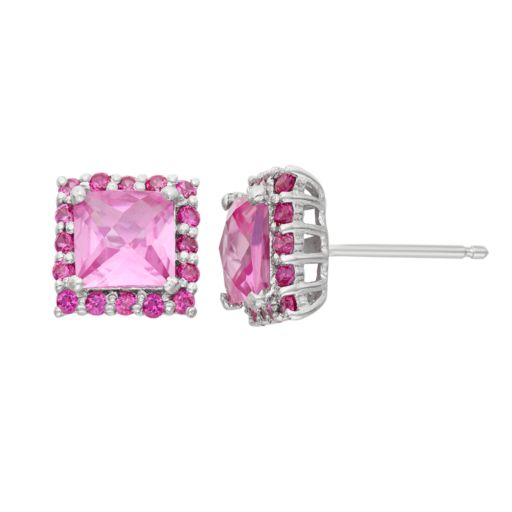 Lab-Created Pink Sapphire and Lab-Created Ruby Sterling Silver Square Halo Stud Earrings