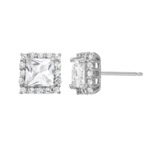 Lab-Created White Sapphire Sterling Silver Square Halo Stud Earrings