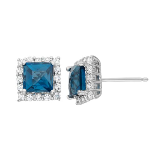 London Blue Topaz and Lab-Created White Sapphire Sterling Silver Square Halo Stud Earrings