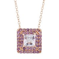 Rose de France & Amethyst 14k Rose Gold Over Silver Square Halo Pendant Necklace