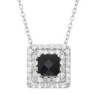 Onyx & Lab-Created White Sapphire Sterling Silver Square Halo Pendant Necklace